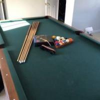Olhausen Green Felt Wood and Leather Pool Table